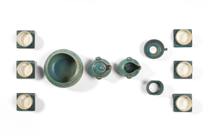 Gongfu Tea Ceremony Set With Grayish-Blue Glaze