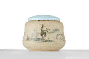 Roundish Tea Caddy With Yellow Glaze And Picture Of Chinese Countryside