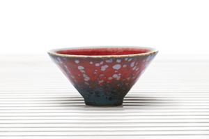 Conical Tea Bowl With Red Spotted Outer Glaze And Crimson Inner Glaze
