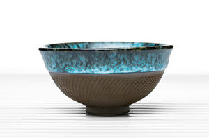 Hemisphere Tea Bowl With Blue Crackle Glaze