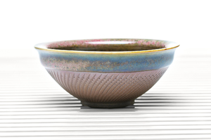 Deep Flared Tea Bowl With Pink Crackle Glaze And Green Specks