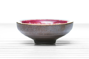 Deep Tea Bowl With Brown Outer Glaze And Crimson Inner Glaze