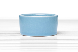 Cylindrical Tea Bowl With Sky Blue Crackle Glaze