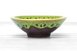Maroon Conical Tea Bowl With Green Spotted Rim And Golden Leaf Pattern